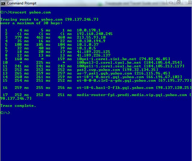 Windows CMD подкана - traceroute tracert