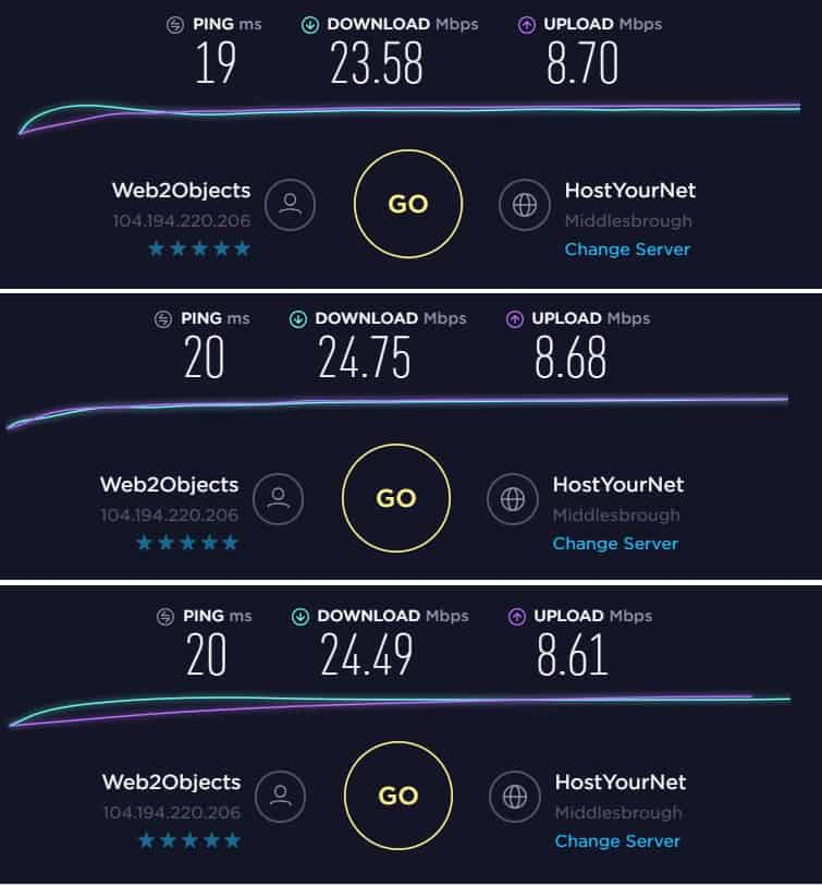 speedtest rezultă acces la internet privat