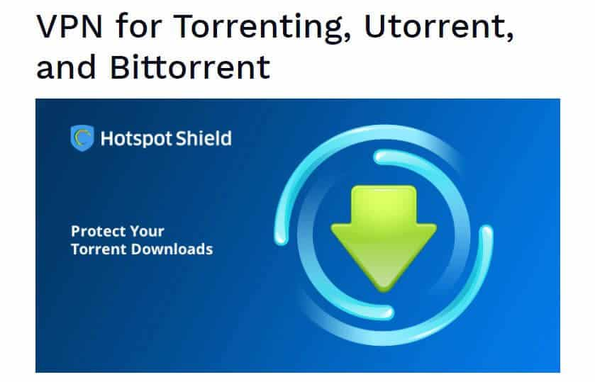 หน้า Hotspot Shield torrenting
