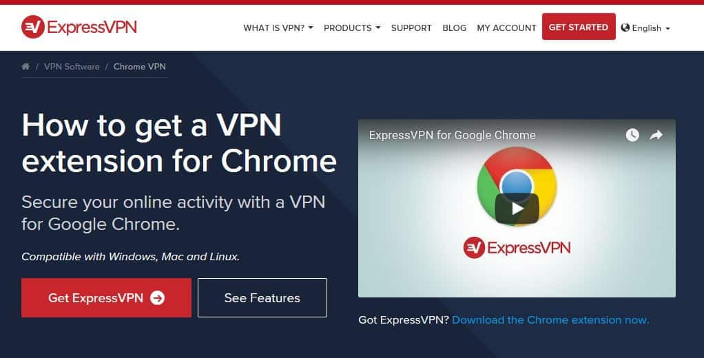 Страницата ExpressVPN Chrome.