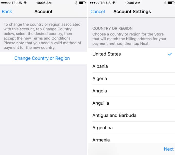 ios itunes country region