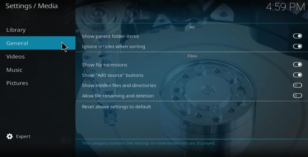 Kodi media settings_general