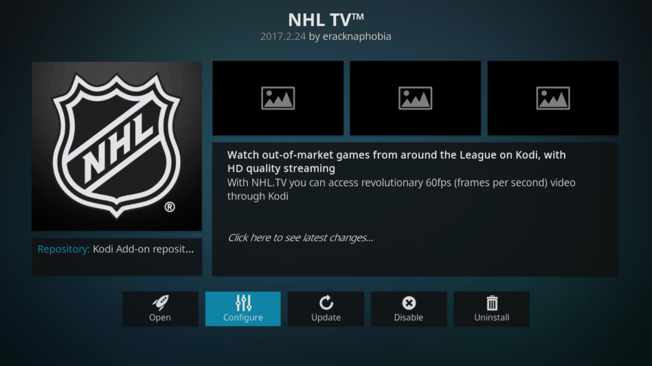 NHL tv a Kodi-n