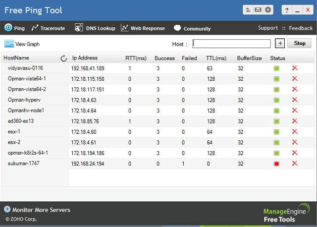 ManageEngine Ping és Traceroute