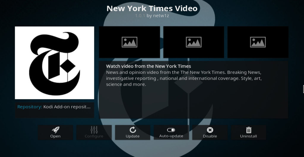 New York Times Video Kodi addon