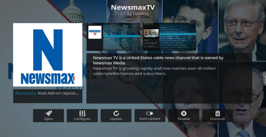 Newsmax TV Kodi addon