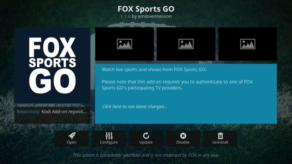 Fox Sports Go Kodi افزودنی