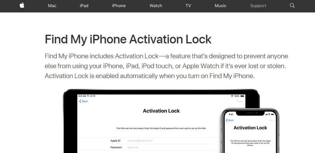 iOS Activation Lock honlap.